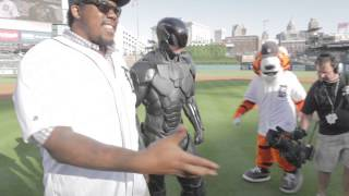 RoboCop throws out first pitch at the Detroit Tigers game on June 3, 2014