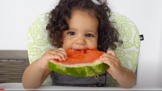 Baby Amira  will eat watermelon