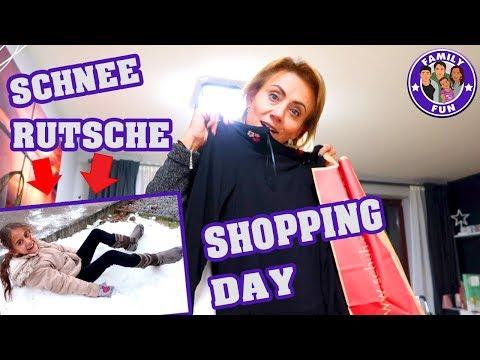 SHOPPING DAY und SCHNEERUTSCHE BAUEN Vlog #158  Our life FAMILY FUN