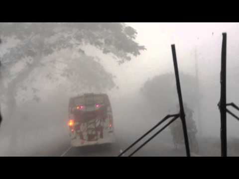 Dense fog at Bogra-Rangpur highway in a winter morning with Eagle 8997 (BL Panchagarh Tour)