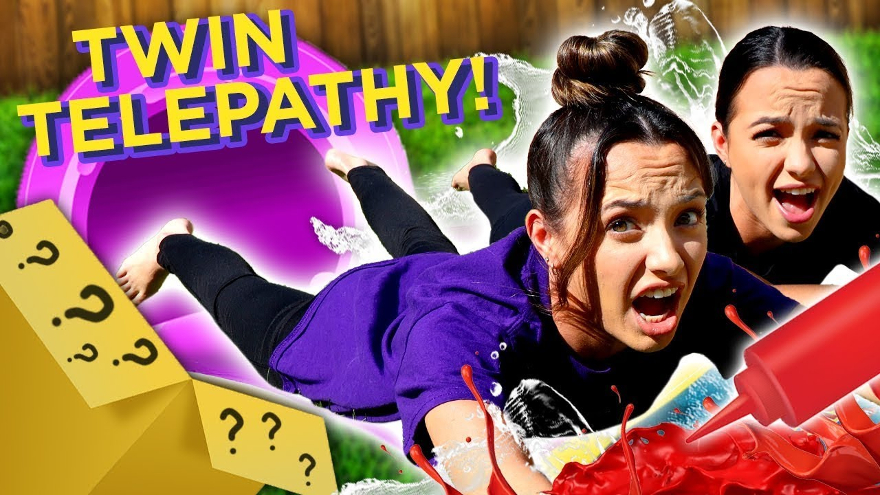 Don't Choose the Wrong Slide! Twin Telepathy Challenge | Mystery Twin Bin w/ The Merrell Twins