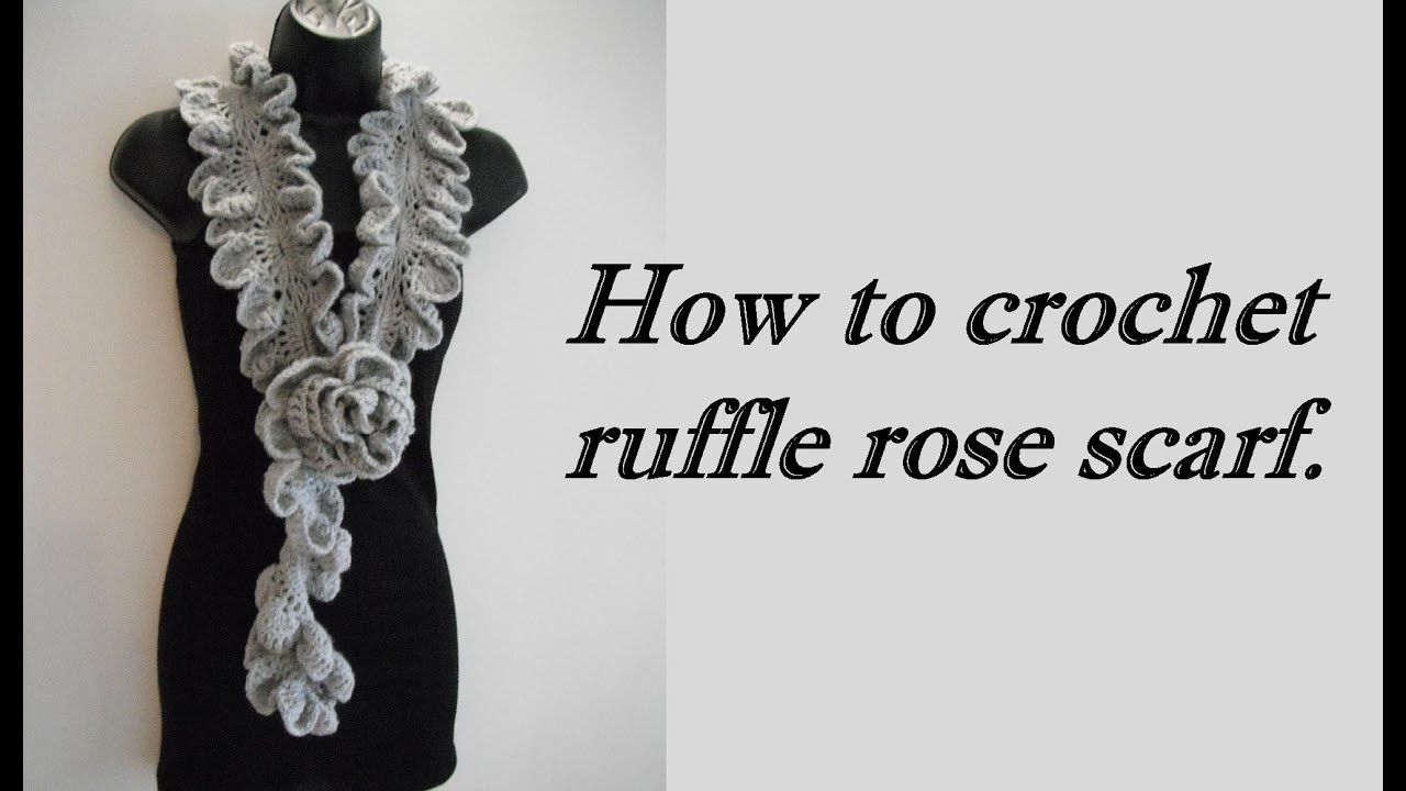 how to Crochet ruffle rose scarf free pattern tutorial for beginners ...