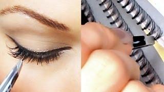 Уроки макияжа. Универсальный макияж + накладные ресницы. Как наклеить ресницы(, 2013-12-25T15:09:31.000Z)