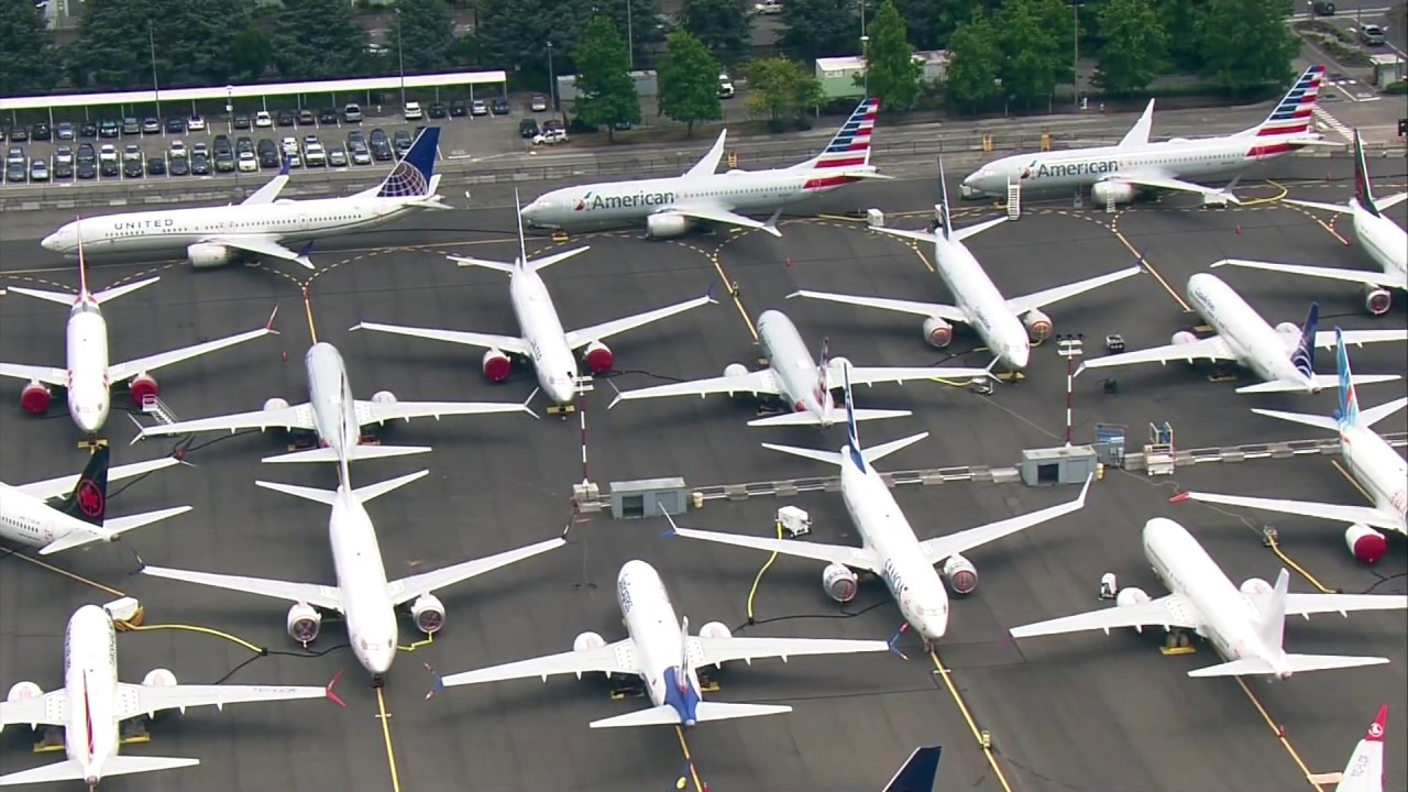 Aerials of grounded Boeing 737 Max planes at Seattle's Boeing Field in July  2019