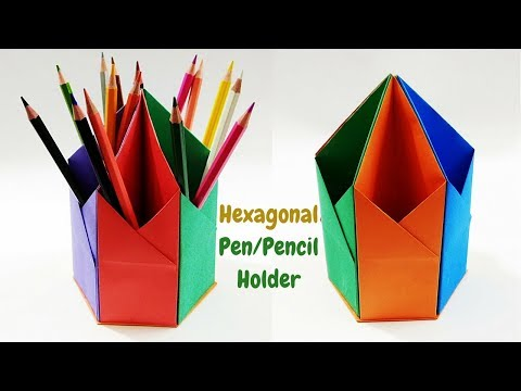 how-to-make-paper-pen-stand/holder-|-hexagonal-paper-pen-pencil-holder-|-origami-pen-holder