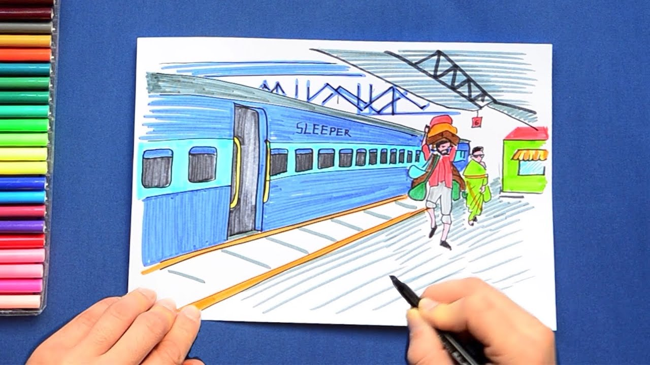 How To Draw A Train At Indian Railway Station Youtube