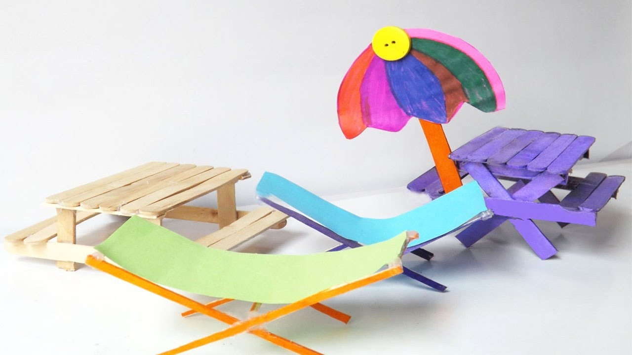 Amazing Toys For Kids | DIY Picnic Table U0026 Beach Chairs Using Popsicle  Sticks