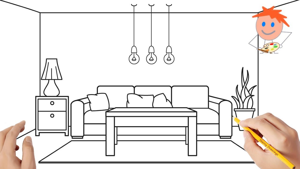 How To Draw A Living Room Easy Step By Step | Drawing For ...
