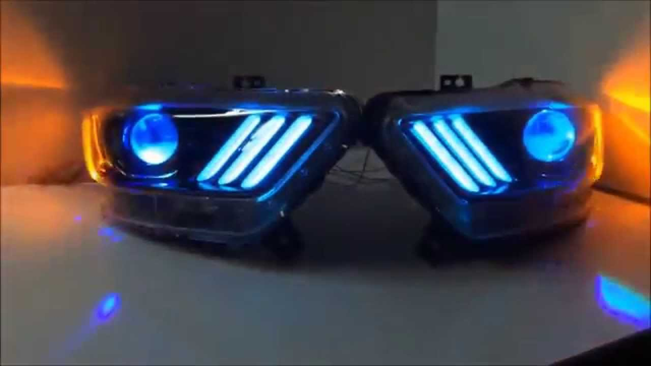 Custom Headlights 2015 Ford Mustang With Color Changing Leds