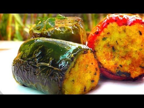 Indische gefüllte Paprika - Vegan Vegetarisches Rezept