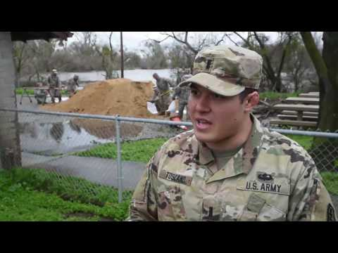 California Massive Flooding - California National Guard sandbaging