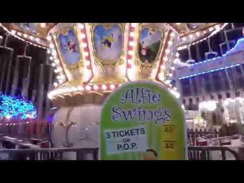 Alfies Swings Daytime off Ride at Adventureland in Farmingdale,NY Late 2016 Attraction Tube HD