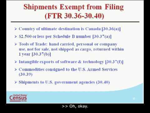 Foreign Trade Filing Regulations Filing Requirements