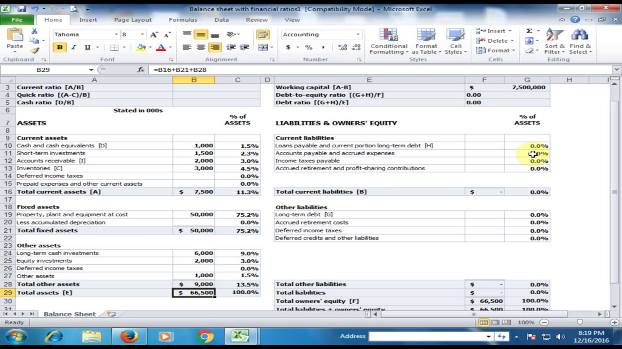 financial statement   balance sheet in microsoft excel