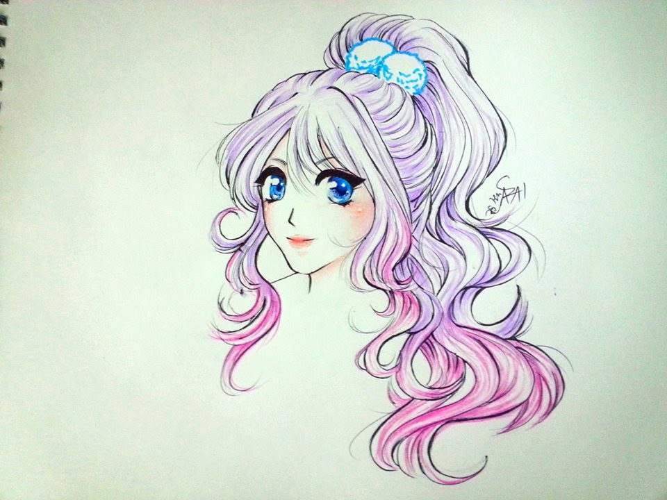 Simple Anime Girl Mermaid Hair Tutorial تعلم رسم بنت انمي بسيط