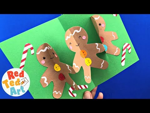 CUTE Gingerbread Man Pop Up Christmas Card DIY - Easy 3d Christmas Card Crafts