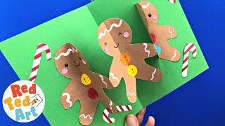 CUTE Gingerbread Man Pop Up Christmas Card DIY - Easy 3d Christmas Card Crafts