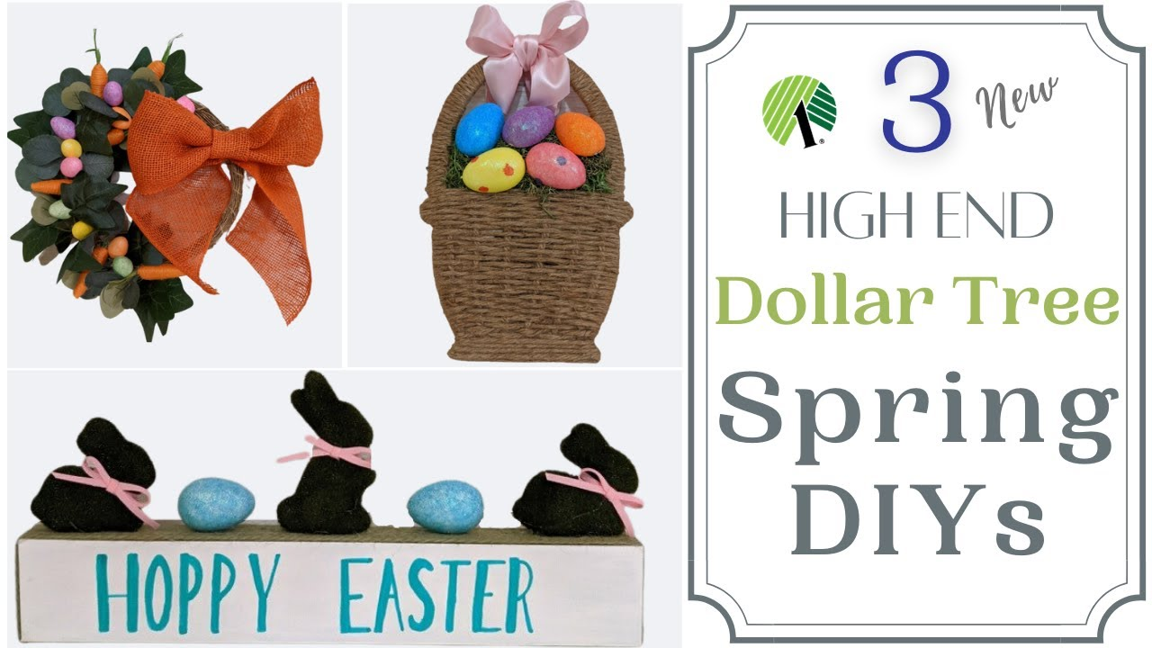 🐰🌷 3 NEW HIGH END SPRING AND EASTER DOLLAR TREE DIYS | FARMHOUSE DIY | HIGH END EASTER DIY