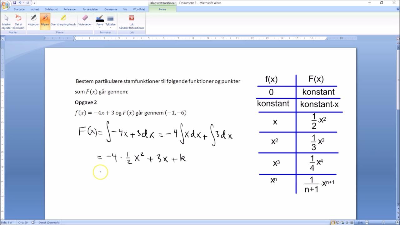 Integralregning - partikulære stamfunktioner når man kender et punkt