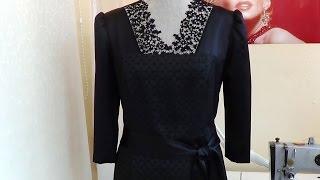 Комбинированное черное платье