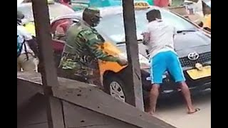 Two Soldiers Discipline Young Guy For Not Wearing Nose Mask In Public