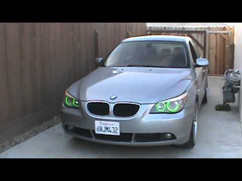bmw e60 angel eyes green daylight youtube. Black Bedroom Furniture Sets. Home Design Ideas