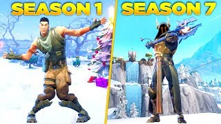 Evolution of Fortnite Battle Pass Dances & Emotes From Season 1 - Season 7! (Fortnite Nostalgia)