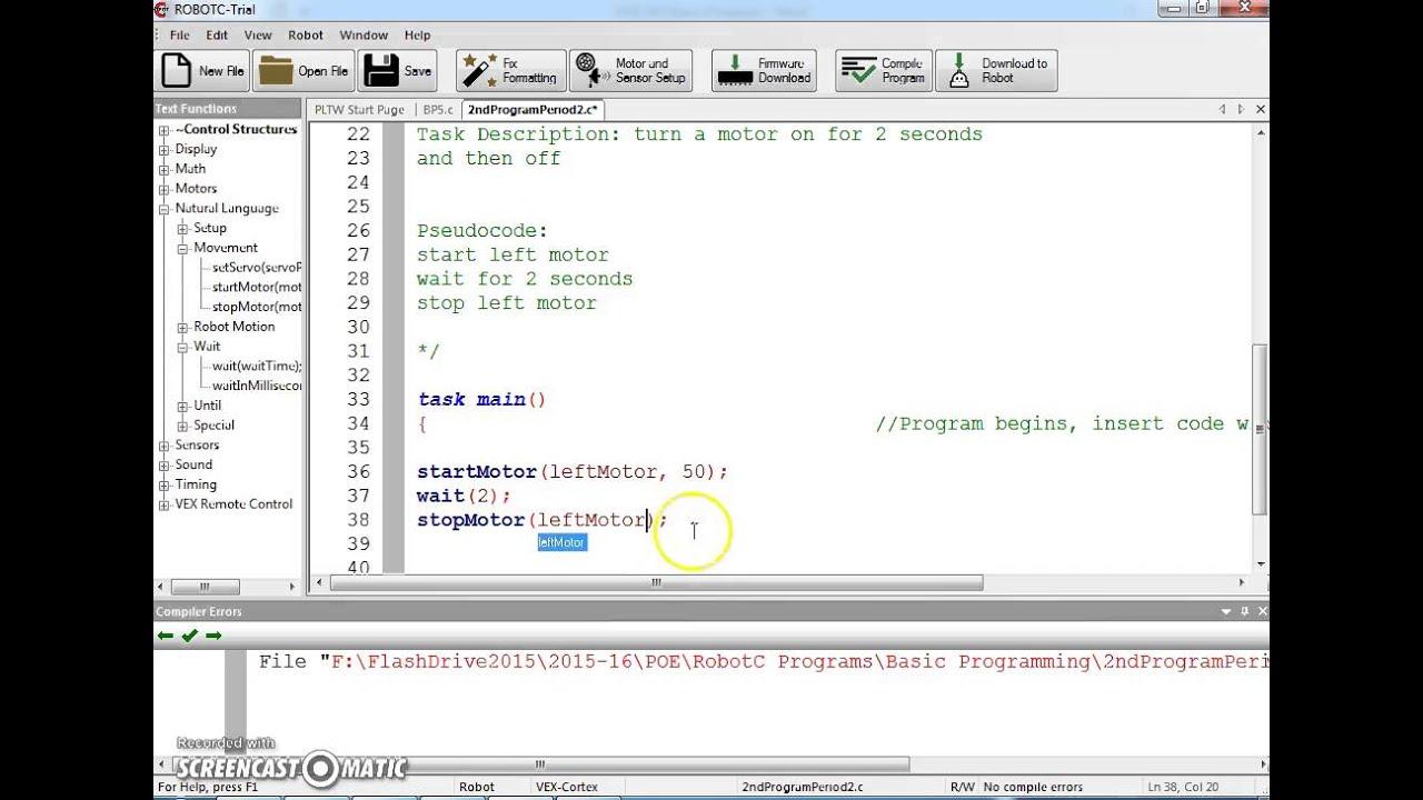 Vex Basic Programming 1 Youtube