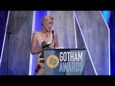 Saoirse Ronan winning the 2017 IFP Gotham Award for Best Actress for LADY BIRD