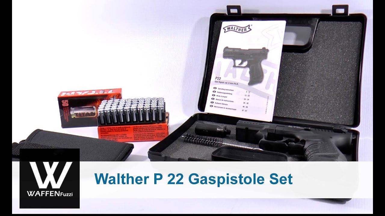 Walther P 22 Gaspistole Set, 100 Platzpatronen Titan, Holster,  www waffenfuzzi de