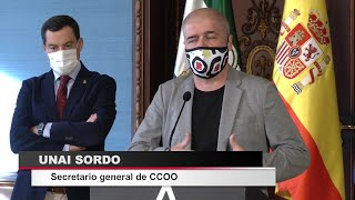 """Moreno pide a CCOO """"ayuda"""" para la reactivación de la economía"""