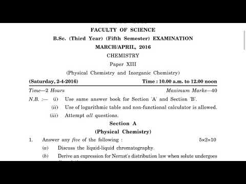 Chemistry paper xiii b ty 5th sem march april 2016 youtube chemistry paper xiii b ty 5th sem march april 2016 malvernweather Gallery