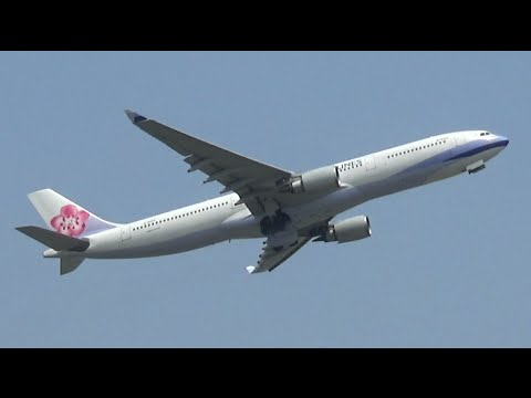 China Airlines Airbus A330 takeoff from Delhi Airport