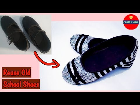 DIY old school shoes to new fancy shoes for girl || handmade things || Crafts Vine
