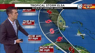 Mountains in Jamaica weaken Tropical Storm Elsa