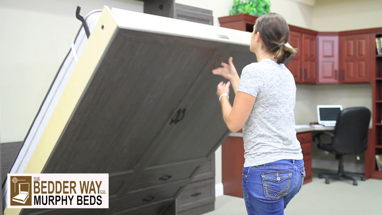 Opening a Vertical Melamine Murphy Bed from the Bedder Way Company