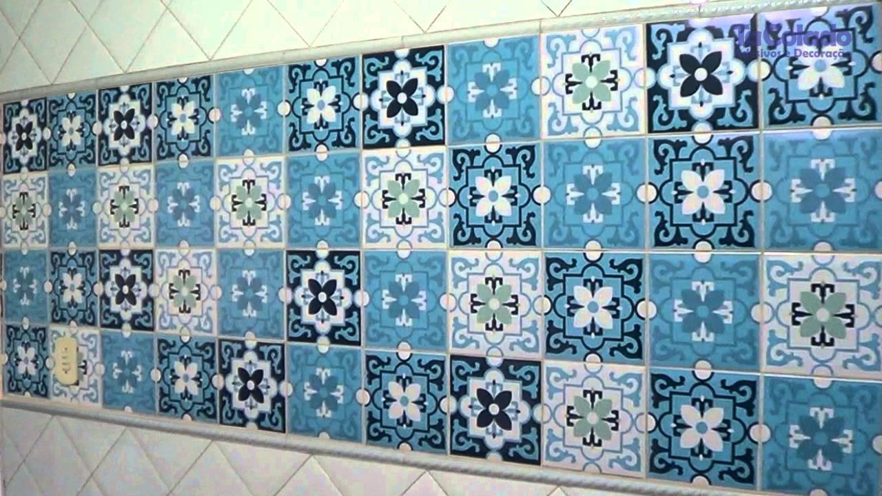 Adesivo azulejo berga azul tacolado youtube for Azulejo azul