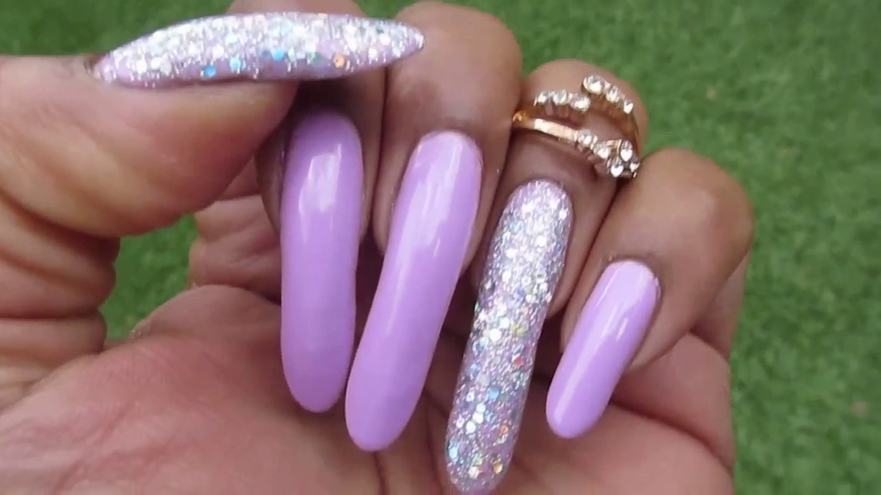 lavender glitter nails in motion