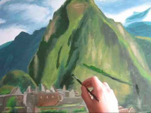 Pintura Del Monumental Centro Arqueologico De Machupicchu By Marco Costa