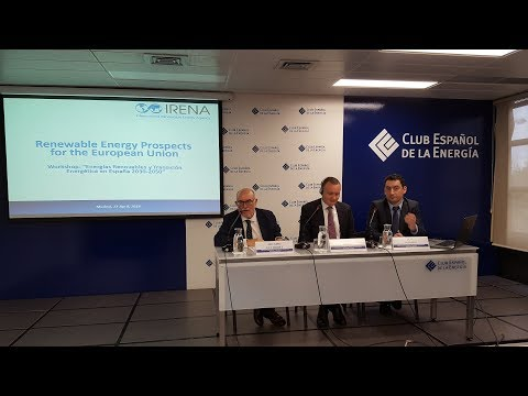 "Presentación el informe de IRENA ""Renewable Energy Prospects for the European Union"""