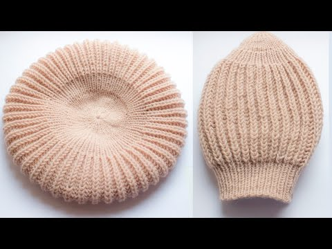 Вязание берета спицами английской резинкой видео
