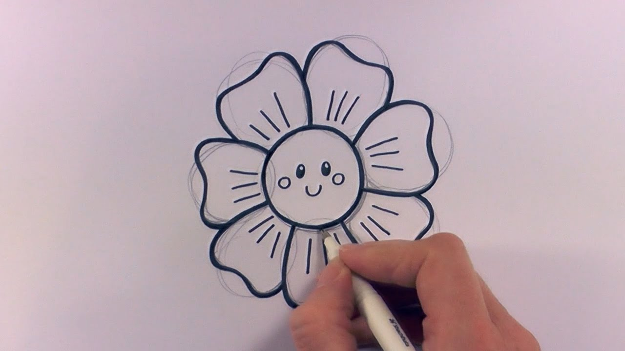 How To Draw A Cartoon Flower Head