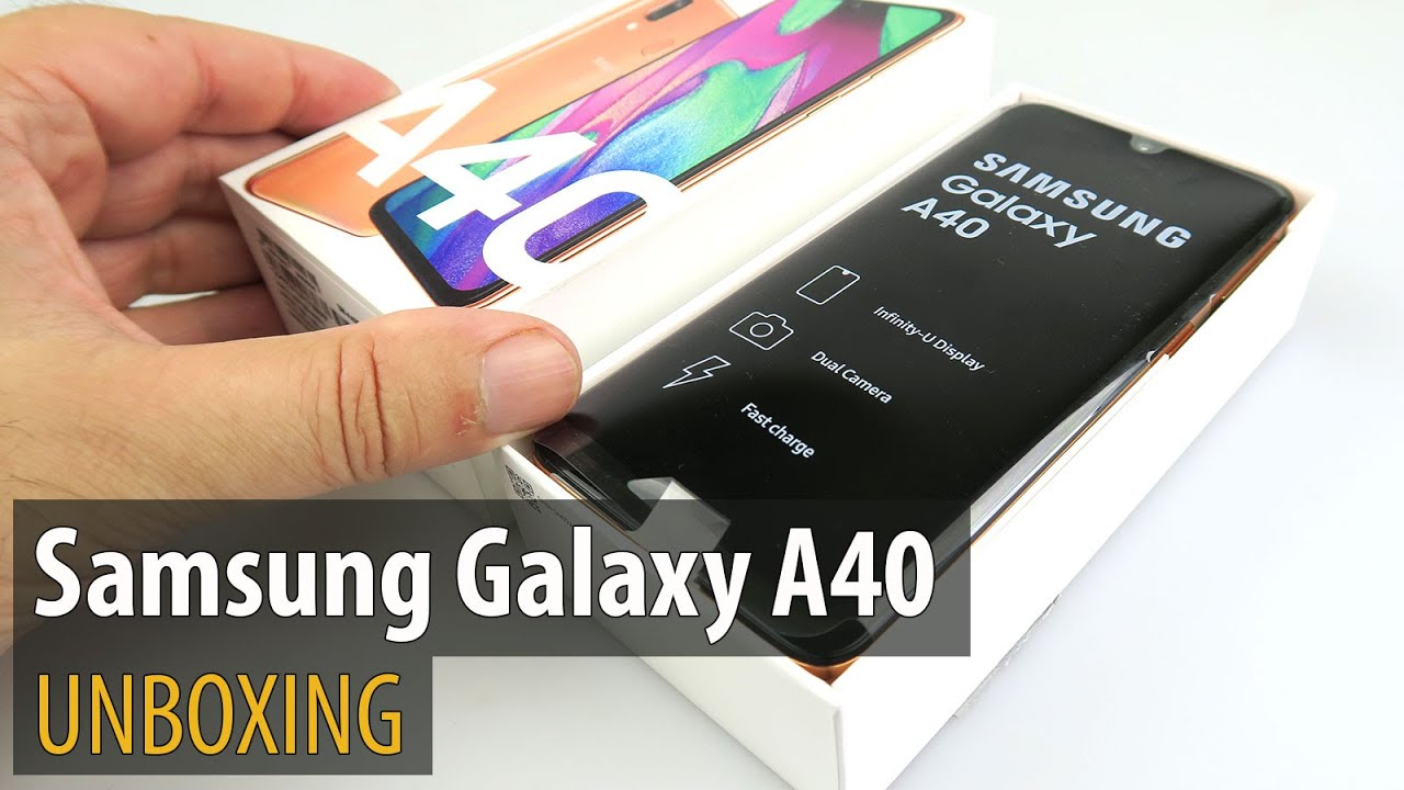 Samsung Galaxy A40 Unboxing (Dual Camera Midrange Phone, Coral)