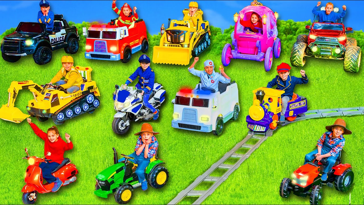 يتعلم الأطفال ويلعبون مع الحفارات وسيارات الإطفاء وألعاب Kids learn and play with ride on toys cars