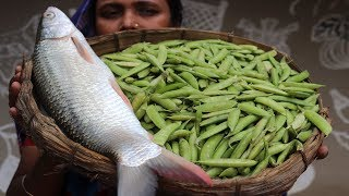 Village Food Farm Fresh Green Peas Recipe Village Style Delicious Fresh Green Peas & Fish Cooking