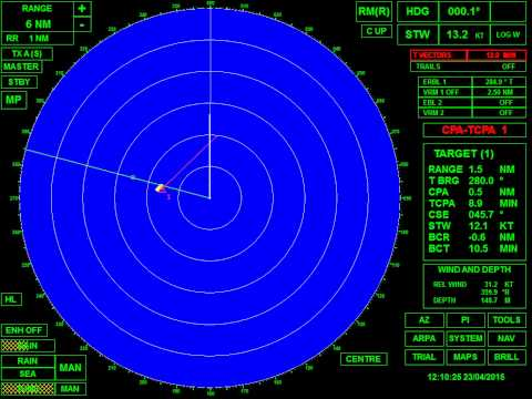 COLREGs - Rule 19 - Scenario: Vessel detected by radar - Radar view