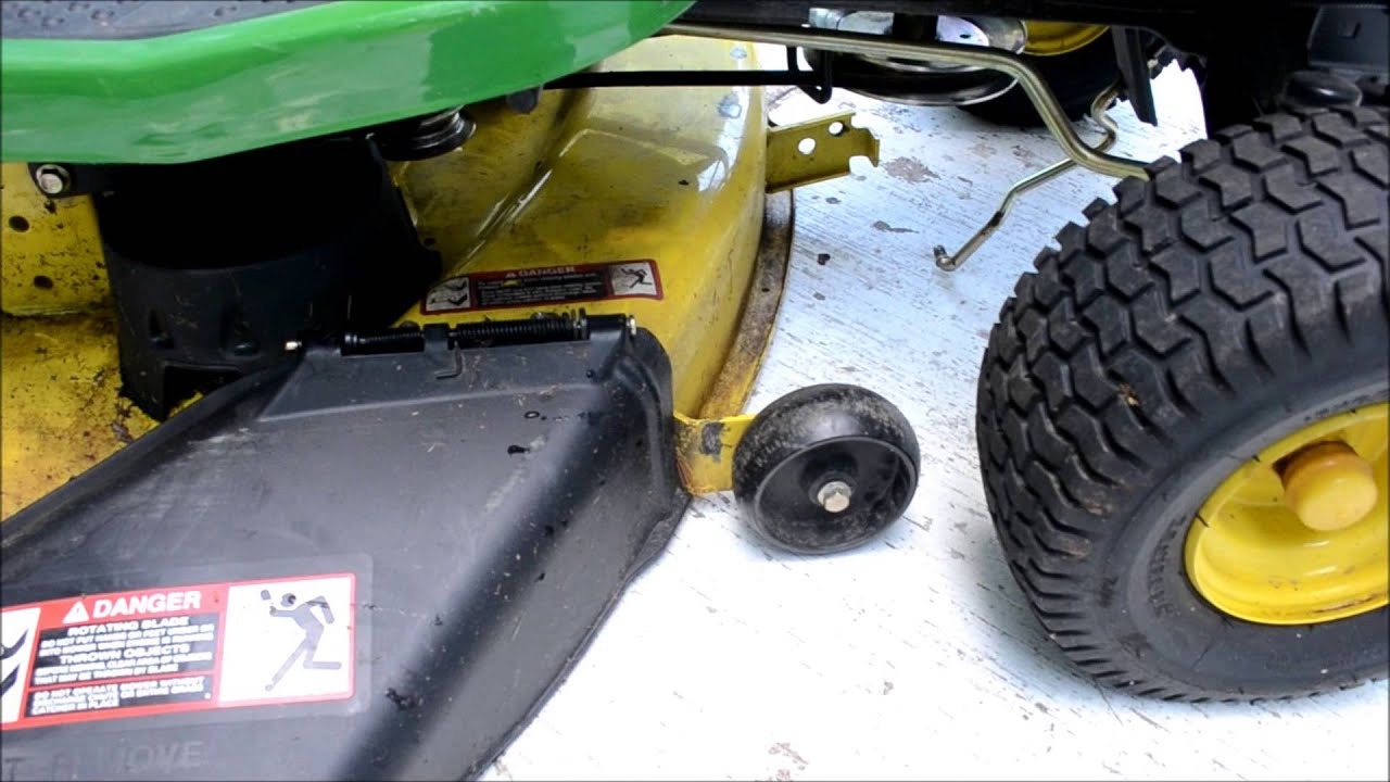 how to reattach a mower deck on a john deere lawn mower [ 1280 x 720 Pixel ]