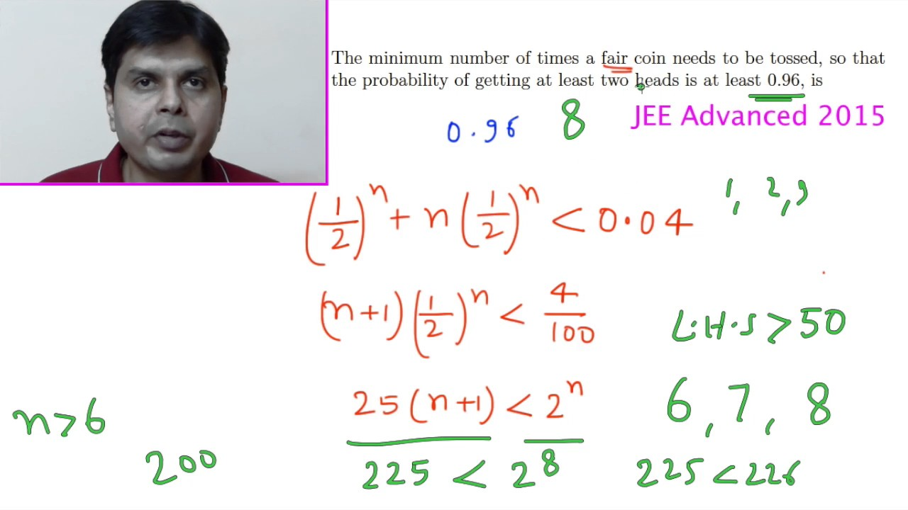 Solved Previous year IIT Problems on Probability - Method of Complementary  counting