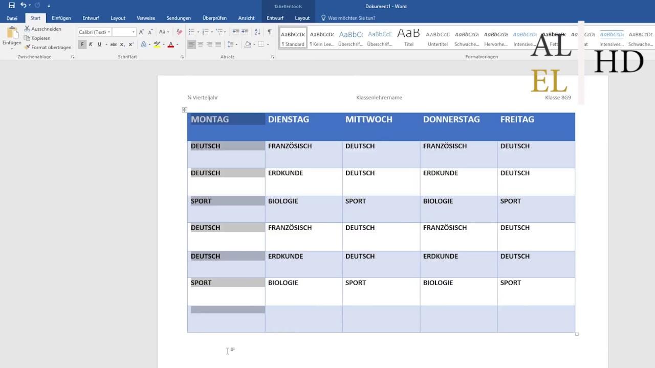In Word Stundenplan Erstellen Ganz Einfach Und Schick Youtube