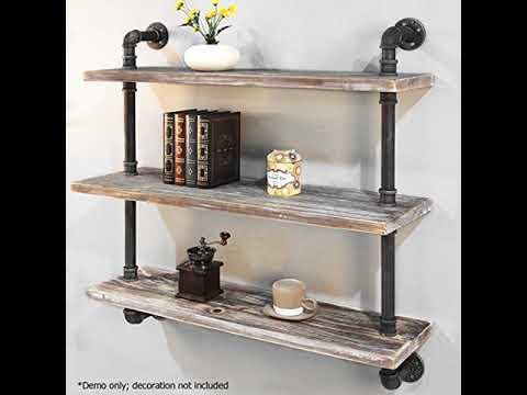 Discount  Shelves Industrial Shelf with Pipe DIY Retro Wall Mount Iron Pipe Shelf Storage